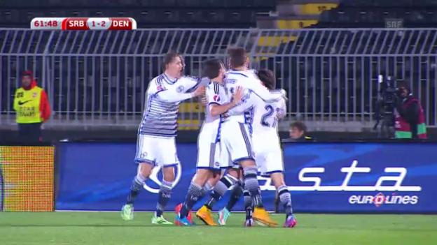Video «Fussball: EM-Quali, Serbien - Dänemark («sportaktuell»)» abspielen