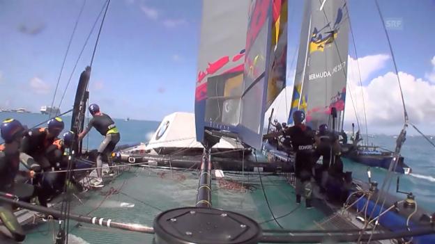 Video «Sturz ins Wasser und Bojen-Crash am Youth America's Cup» abspielen