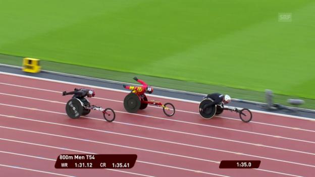 Video «Para-WM: Marcel Hug gewinnt auch über 800 Meter Gold» abspielen