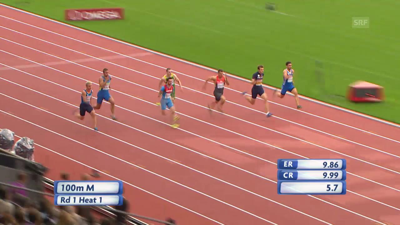 LA-EM: 100 m Männer, Vorlauf von Christophe Lemaitre