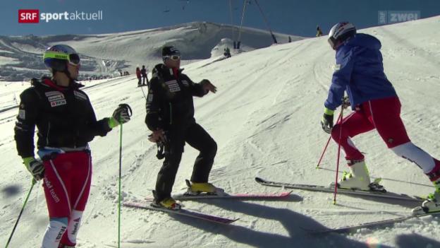 Video «Ski: 1. Schneekontakt in Zermatt» abspielen