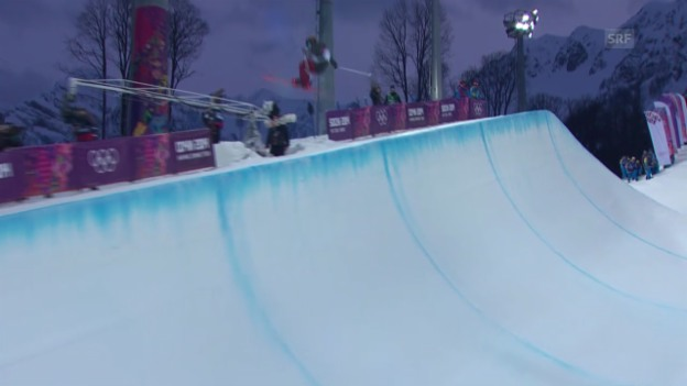 Video «Ski Freestyle: Halfpipe Frauen, 1. Qualifikations-Run von Nina Ragettli (sotschi direkt, 20.02.2014)» abspielen