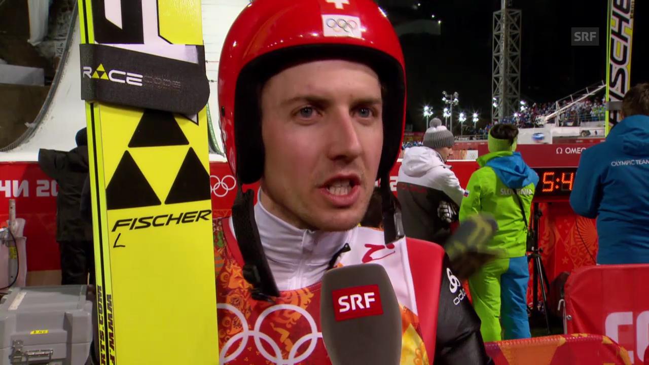 Skispringen: Sotschi, Interview mit Ammann nach 1. Sprung (9.2.14)