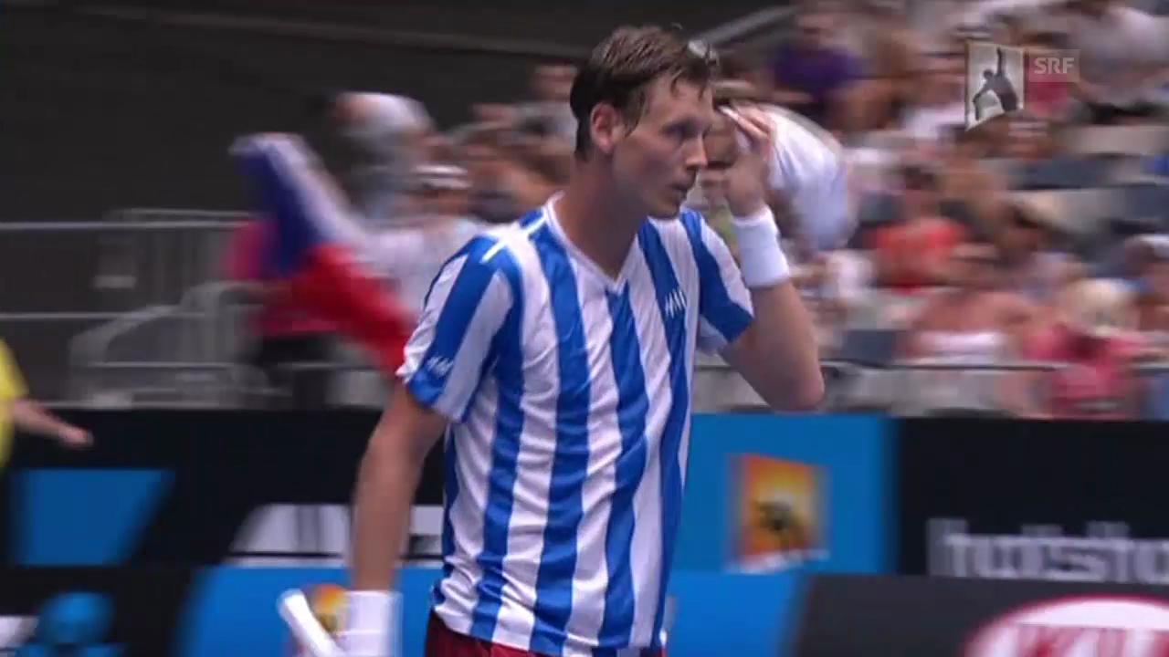 Tennis: Australian Open, 3. Runde, Matchball Berdych - Dzumhur