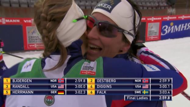 Video «Langlauf: Weltcup in Lahti, Sprint Frau, Final» abspielen