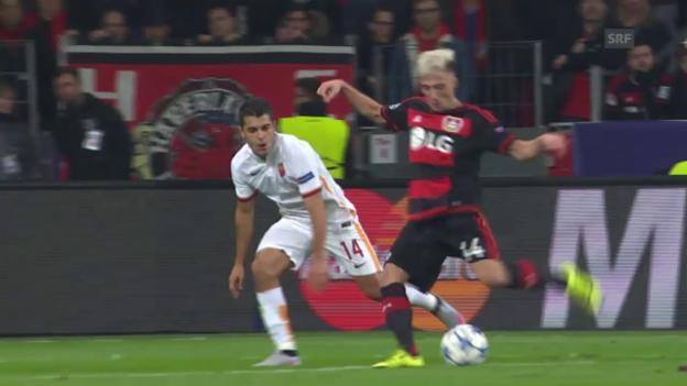 Video «Fussball: CL. Leverkusen - Roma, Tor Kampl» abspielen