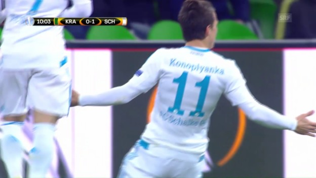 Video «Konopljanka mit Traumtor bei Krasnodar gegen Schalke» abspielen