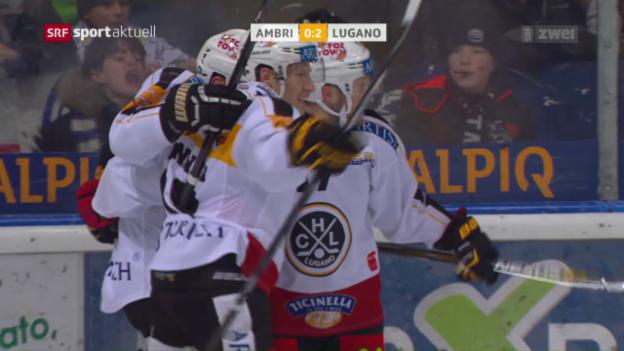Video «Lugano schlägt Ambri klar» abspielen