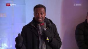 Video «Champiuns-Praktikant und Stand-up-Comedian Charles Nguela berichtet von seinen Erlebnissen in St. Moritz» abspielen