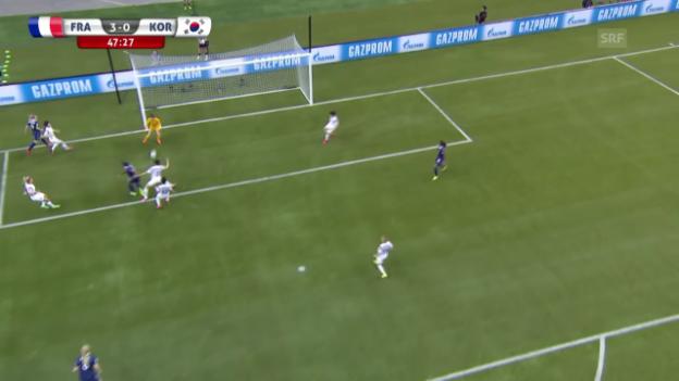Video «Fussball: Frauen-WM, Achtelfinal, Frankreich - Südkorea, 3:0 Delie» abspielen