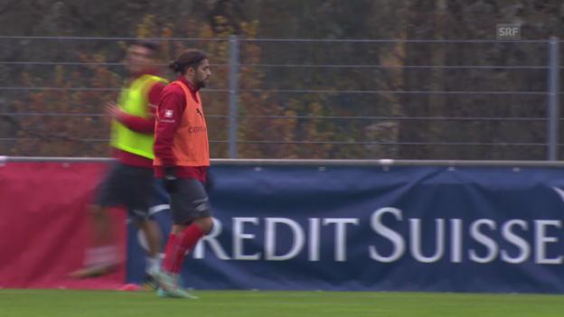 Video «Fussball: Nati vor dem EM-Quali-Spiel gegen Litauen («sportaktuell»)» abspielen