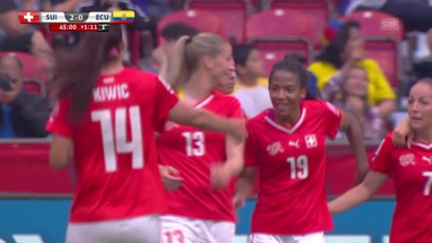 Video «Fussball. Frauen-WM, Schweiz-Ecuador, 2:0 durch Aigbogun» abspielen