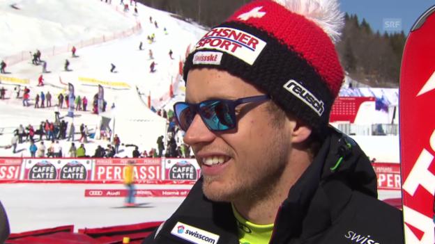 Video «Ski: Super-G Männer in Méribel, Interview mit Caviezel» abspielen