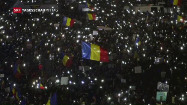 Video «Anhaltende Proteste in Rumänien» abspielen