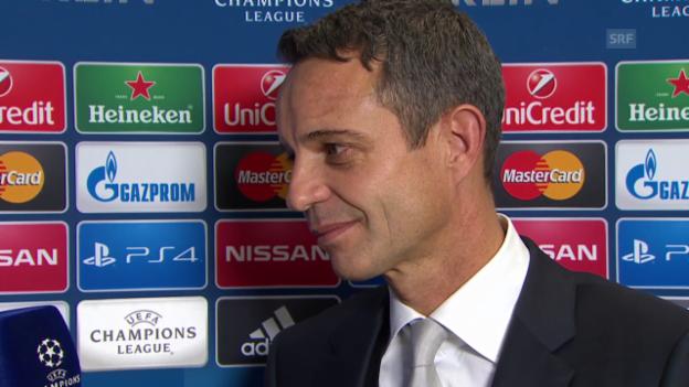 Video «Fussball: Champions League, Auslosung der Achtelfinals, Interview mit FCB-Präsident Bernhard Heusler» abspielen