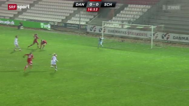 Video «Fussball: Frauen WM-Quali Dänemark - Schweiz» abspielen