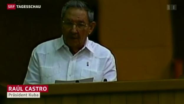 Video «Raul Castro lobt Obamas Ankündigung» abspielen