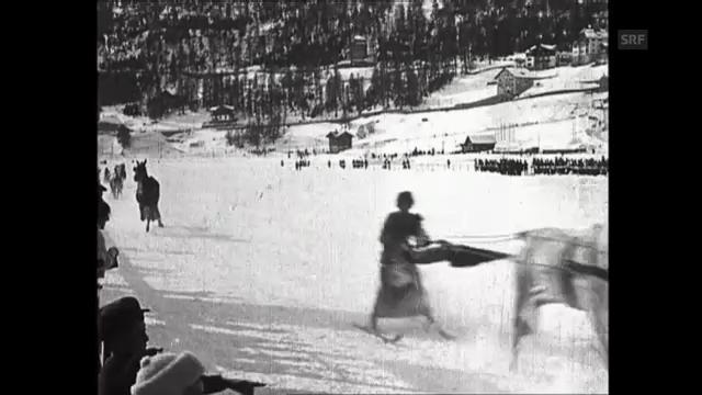 Skikjöring im Rock: 1908 bei den Frauenrennen in St. Moritz (unkommentiert)