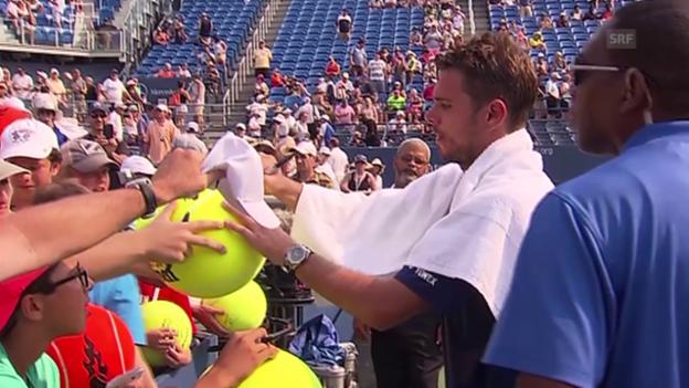 Video «Tennis: US Open, Wawrinka schreibt Autogramme» abspielen