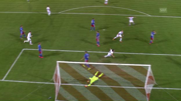Video «Liechtensteins Jehle drückt den Ball selbst über die Linie» abspielen