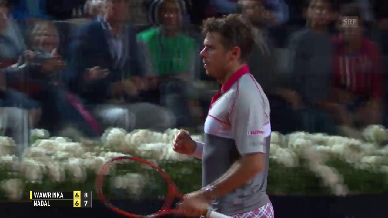 Tennis: ATP Rom, Wawrinka-Nadal, Tiebreak 1. Satz