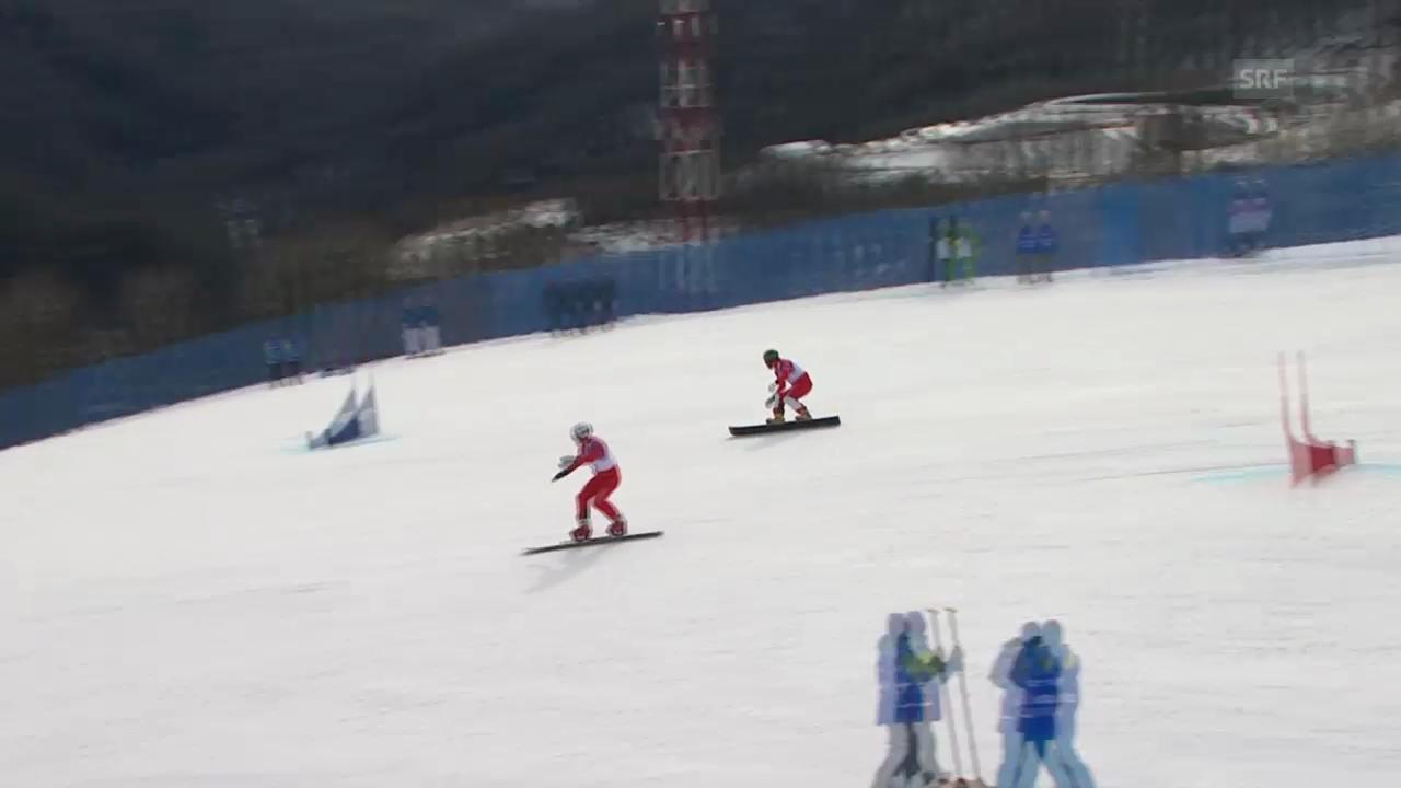 Snowboard: Parallel-RS, Qualifikation, 2. Lauf von Simon Schoch und Neven Galmarini (sotschi direkt, 19.2.14)