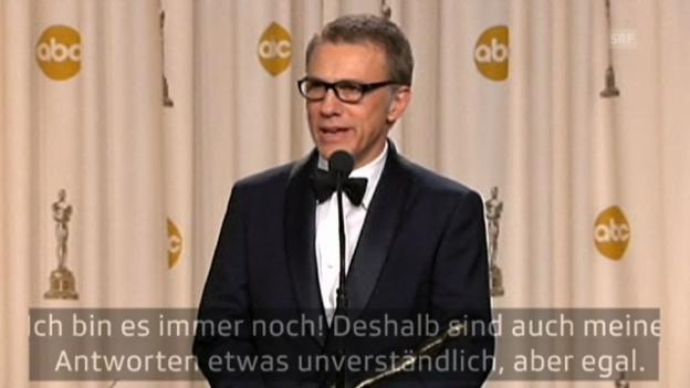 Video «Nach Oscars: Christoph Waltz stammelt» abspielen