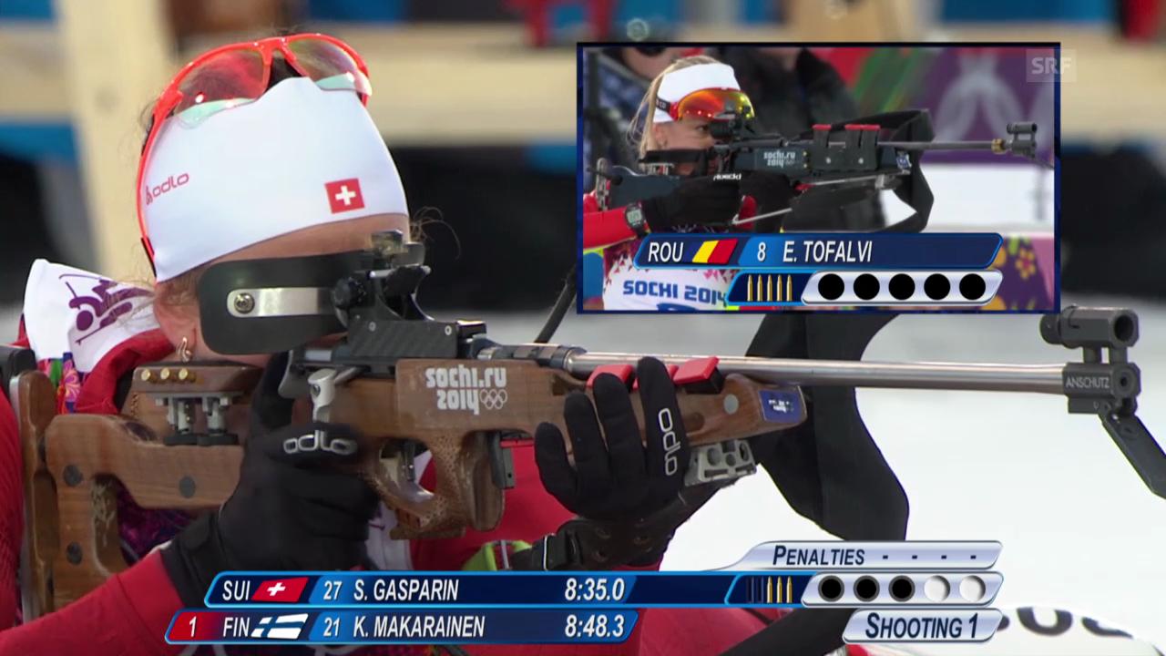 Biathlon: 15 km der Frauen, Schiessen und Zieleinlauf Selina Gasparin (sotschi direkt, 14.02.2014)