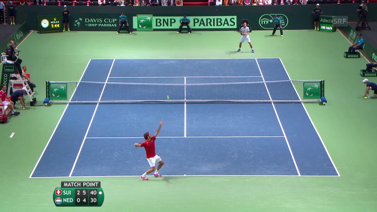 Tennis: Davis Cup, Federer - De Bakker