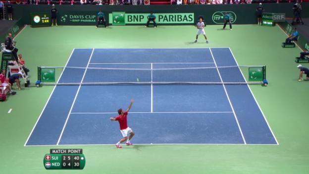 Video «Tennis: Davis Cup, Federer - De Bakker» abspielen