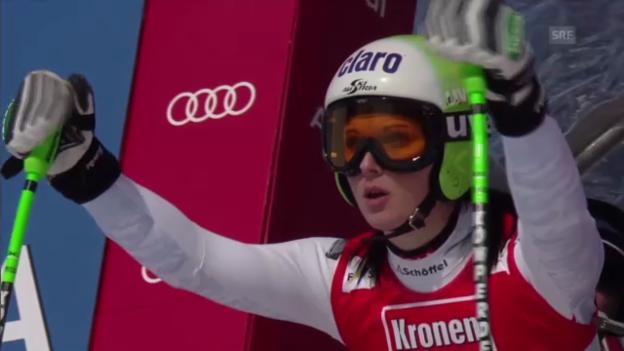 Video «Ski: Anna Fenningers Fahrt beim Super-G in St. Anton» abspielen