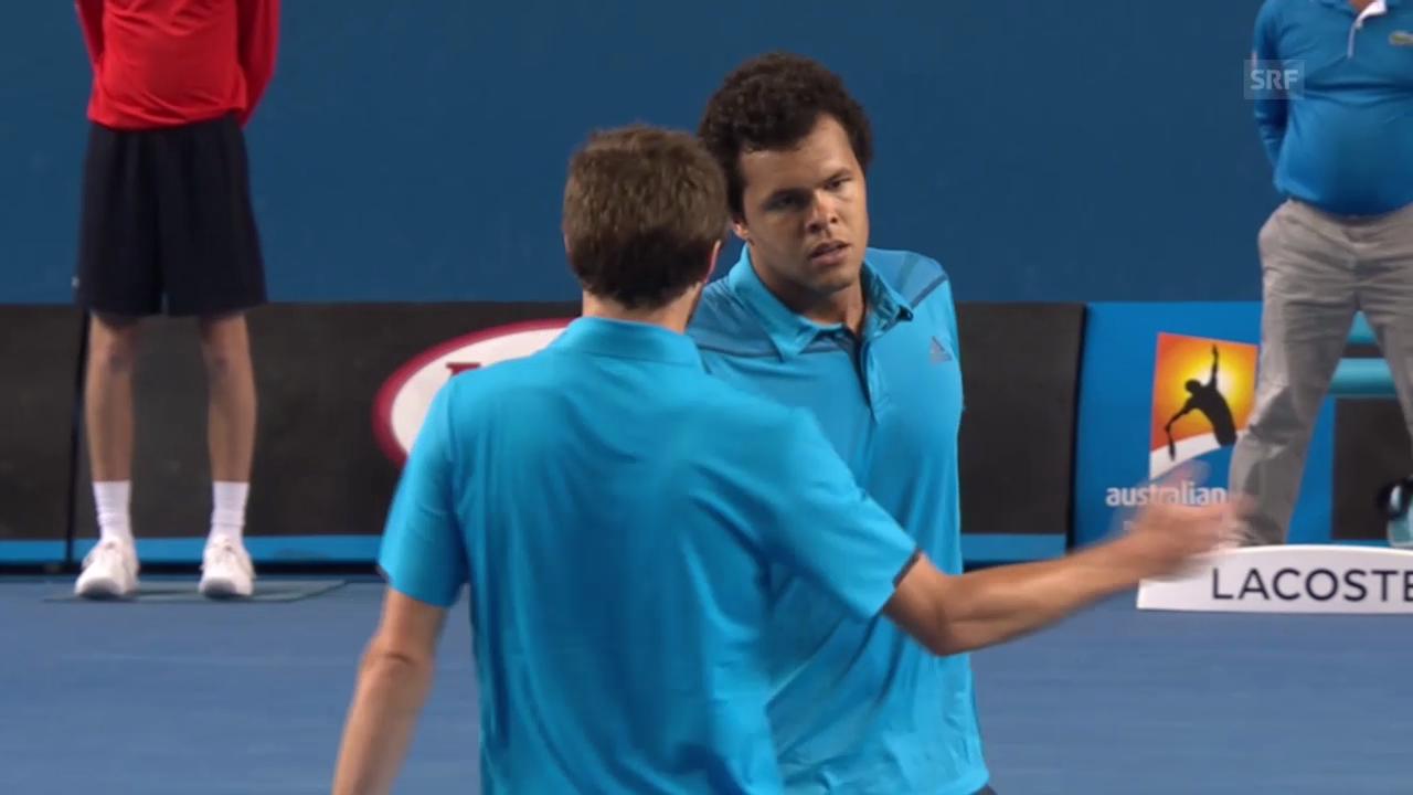 Tennis: Australian Open, 3. Runde, Tsonga-Simon, entscheidende Ballwechsel