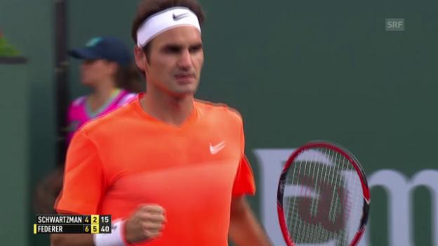 Video «Tennis: ATP Indian Wells, Federer - Schwartzman» abspielen