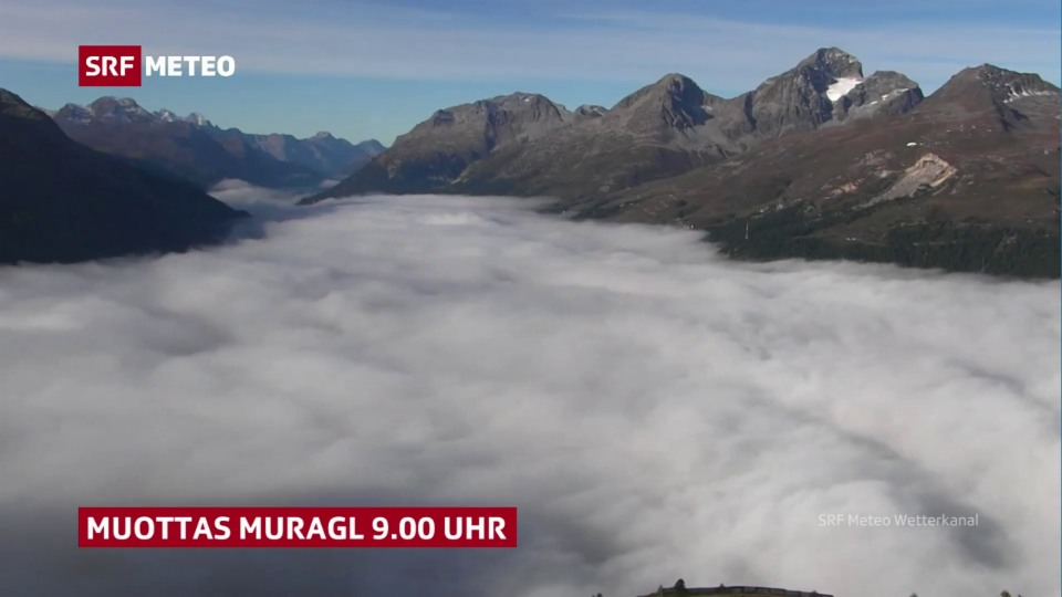 Nebelauflösung Engadin, SRFWetterkanal Muottas Muragl, 22. September