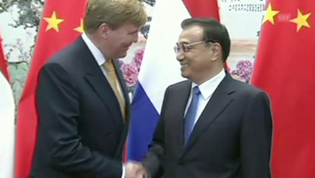 Video «Willem-Alexander setzt Staatsbesuch alleine fort (unkommentiertes Video)» abspielen