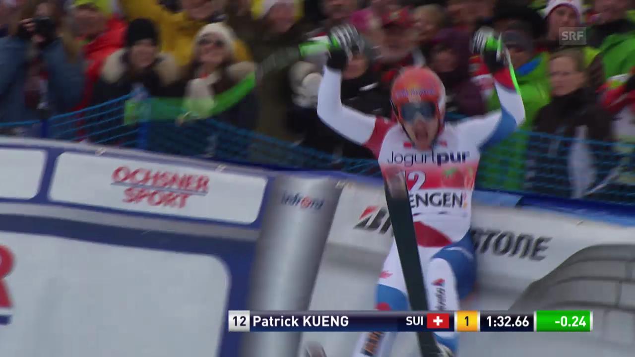 Ski: Abfahrt Wengen 2014, Fahrt von Patrick Küng