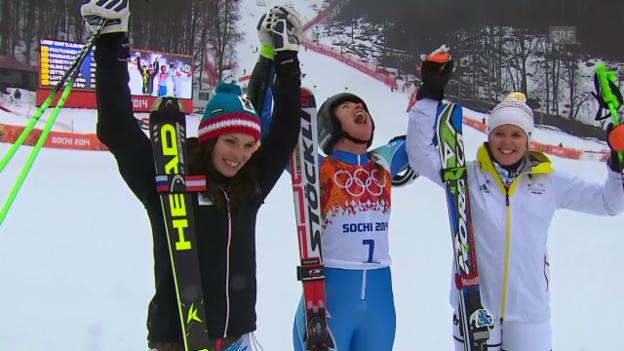 Video «Ski: Riesenslalom Frauen, Zusammenfassung (18.2.2014)» abspielen
