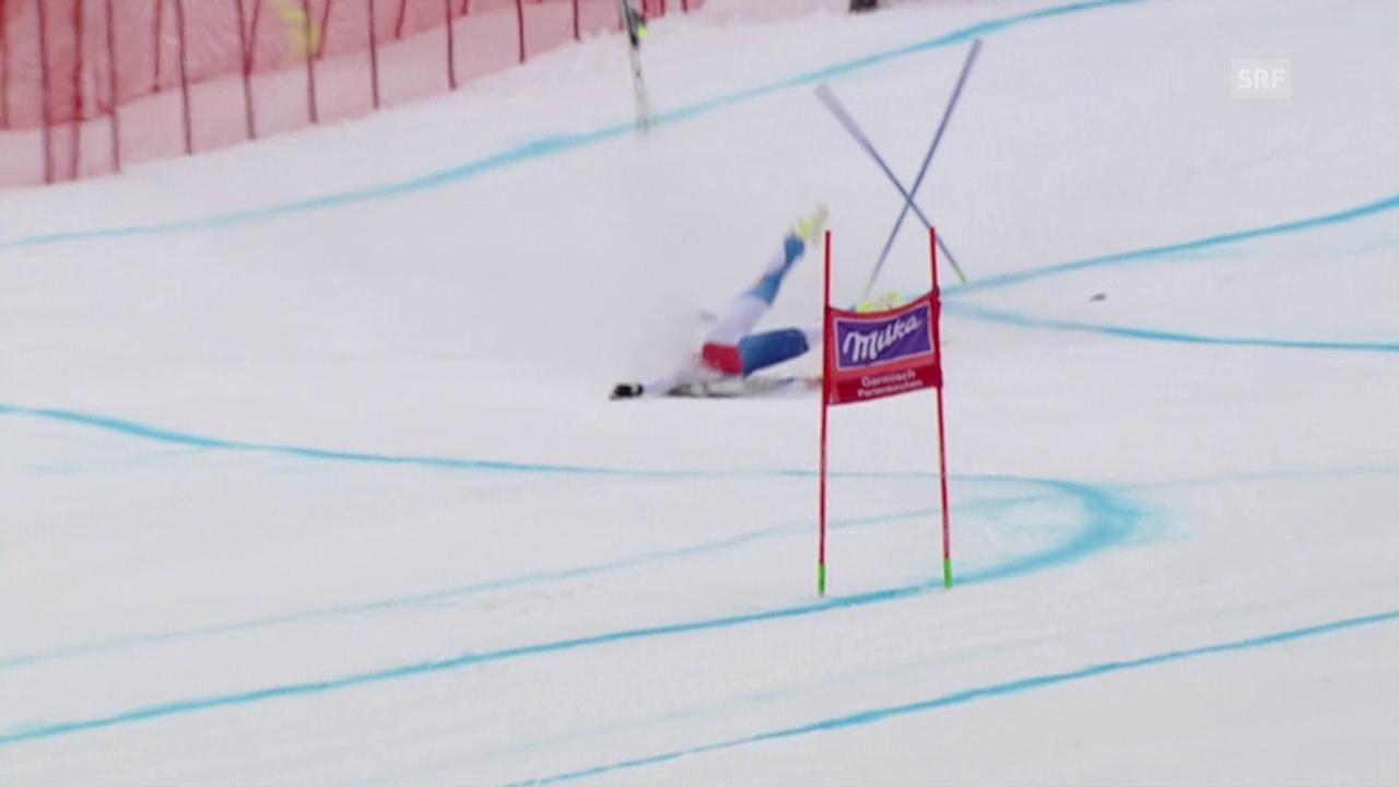 Corinne Suter stürzt beim Super-G von Garmisch heftig
