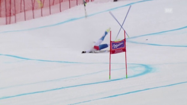 Video «Corinne Suter stürzt beim Super-G von Garmisch heftig» abspielen