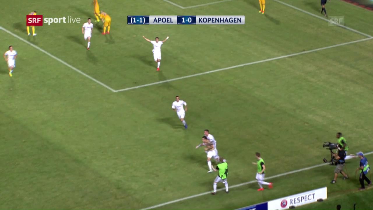 Die Tore bei Apoel Nikosia - FC Kopenhagen
