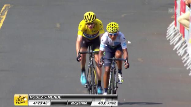 Video «Rad: Tour de France, 14. Etappe, Zielankunft Favoriten» abspielen