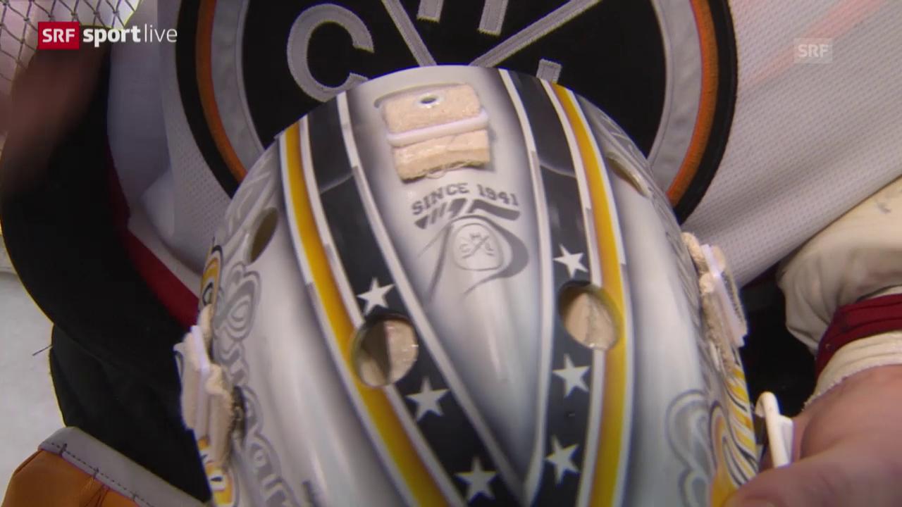 Die Maske von Lugano-Keeper Elvic Merzlikins