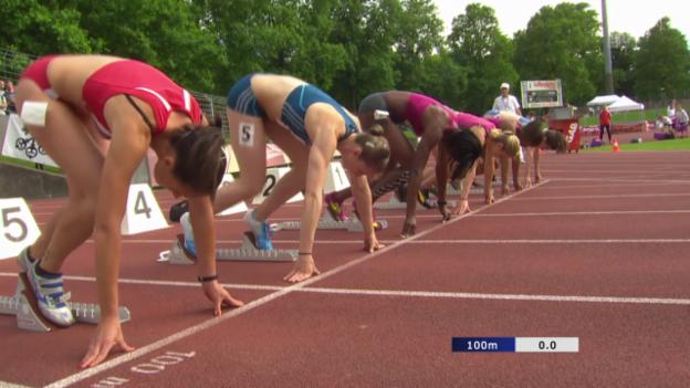 Video «Leichtathletik: Meeting Bellinzona, 100 m Hürden, Vorlauf» abspielen