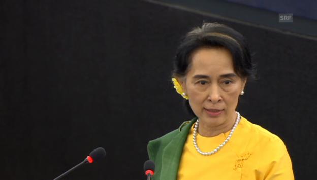 Video «Aung San Suu Kyis Rede vor dem Europaparlament» abspielen