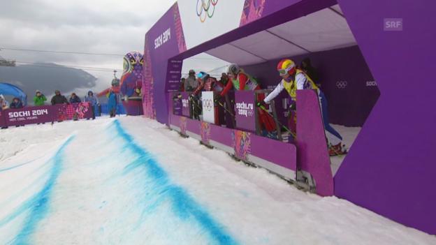 Video «Skicross: Frauen, Viertelfinal mit Sanna Lüdi (sotschi direkt, 21.2.2014)» abspielen