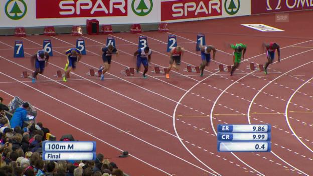 Video «Leichtathletik: 100-m-Final der Männer an der EM» abspielen
