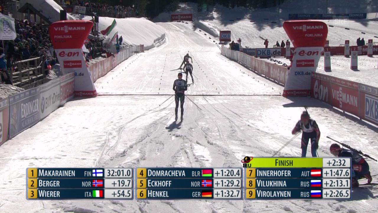Biathlon: Verfolgung Frauen über 10 km, Zieleinlauf