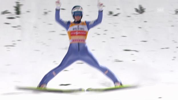 Video «Skispringen: Vierschanzentournee, 4. Springen in Bischofsbofen, Michael Hayböck» abspielen