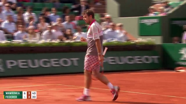 Video «Tennis: Grand Slam, French Open, Viertelfinal Wawrinka – Federer, 2. Break Wawrinka» abspielen