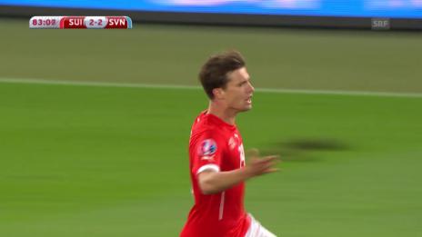 Video «Fussball: EM-Quali, Schweiz - Slowenien, Tor zum 2:2» abspielen